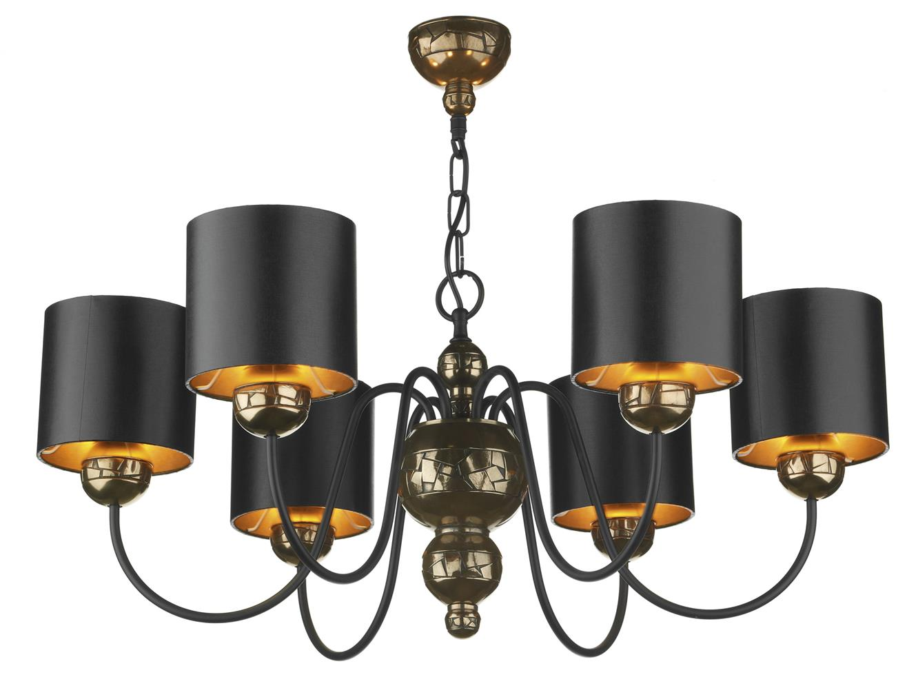 David Hunt Lighting GAR0673 Garbo 6 Light Pendant in Bronze Complete with Black/BronzeShades