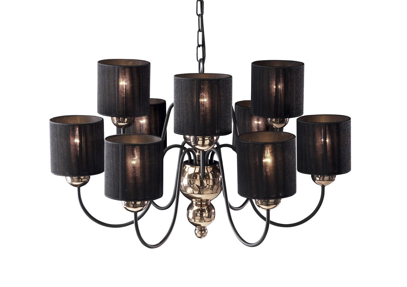 David Hunt Lighting GAR1363 Garbo 9 Light Pendant in Bronze Complete with Black String Shades