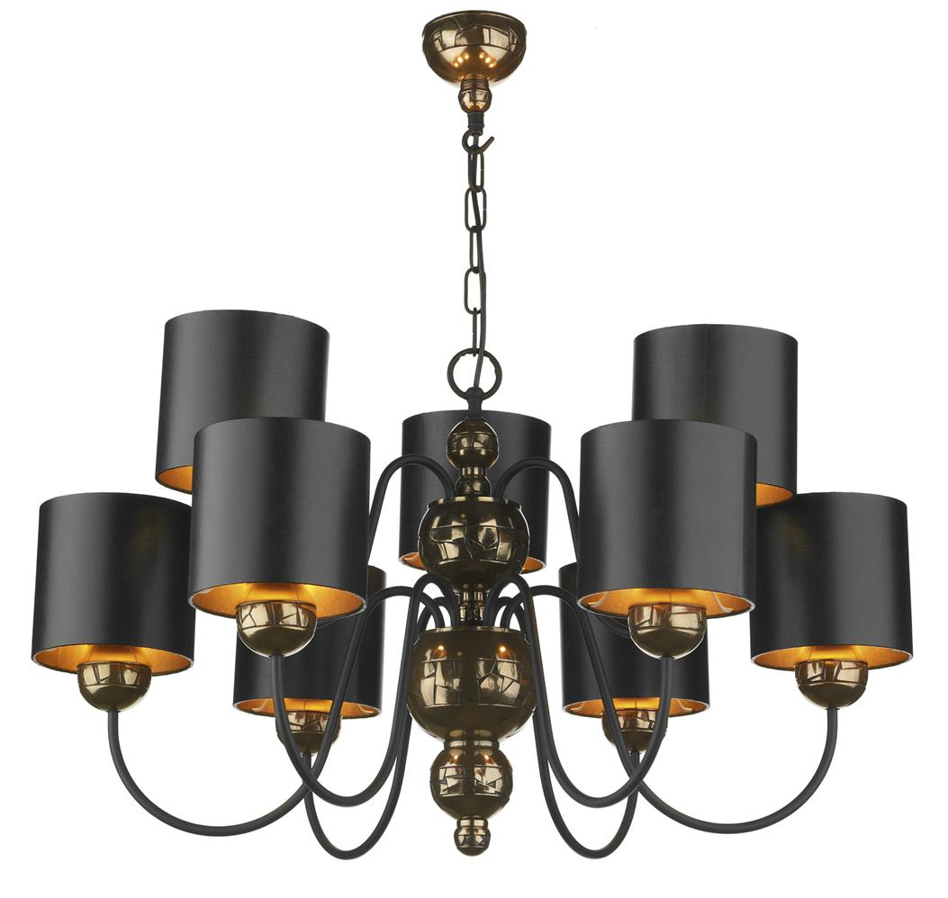 David Hunt Lighting GAR1373 Garbo 9 Light Pendant in Bronze Complete with Black/Bronze Shades