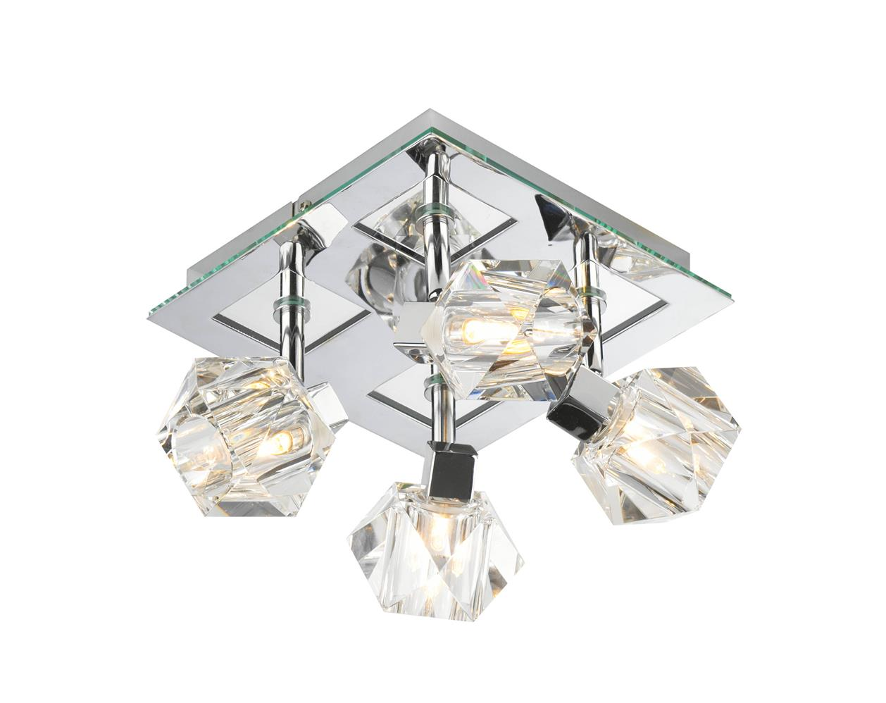 Dar GEO8550 Geo 4 Light on Square Plate in Polished Chrome