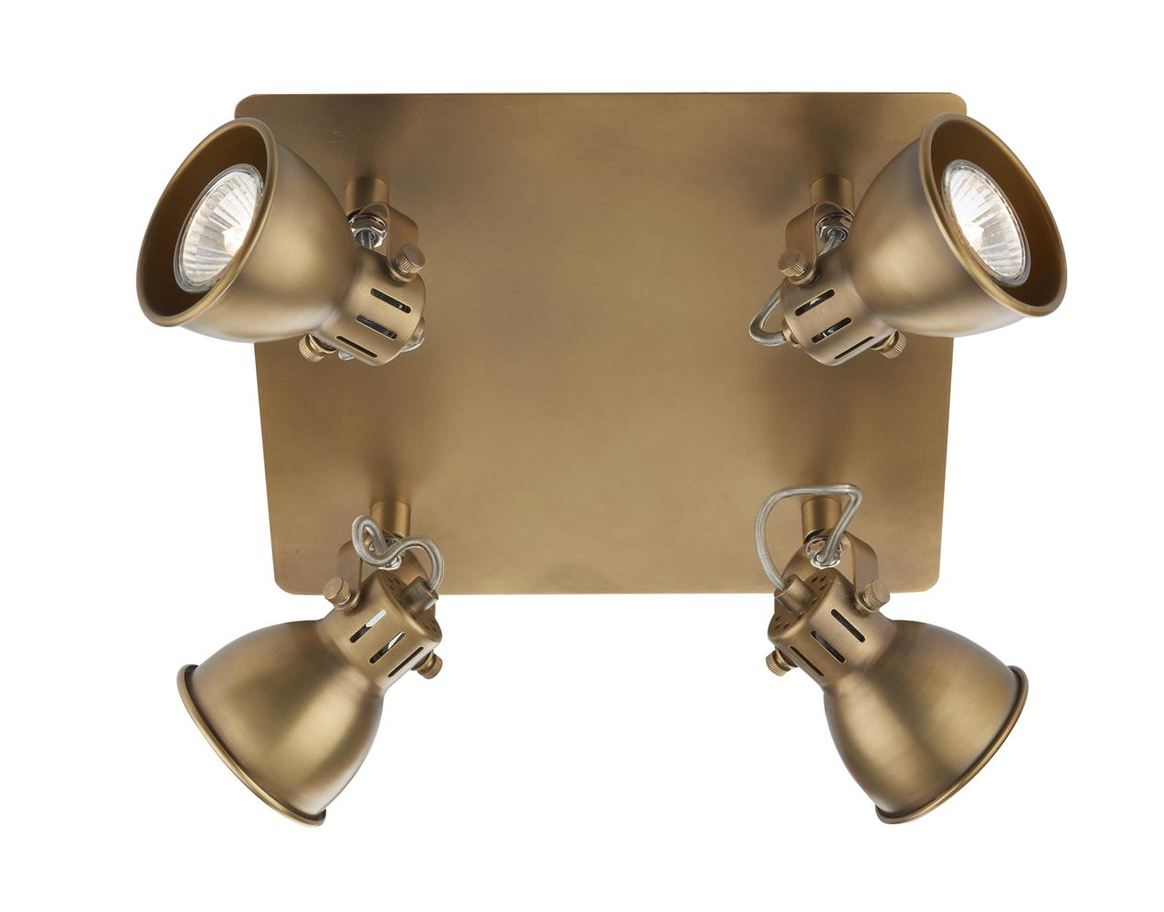 Dar IDA8575 Ida 4 Light Square Plate in  Antique Brass
