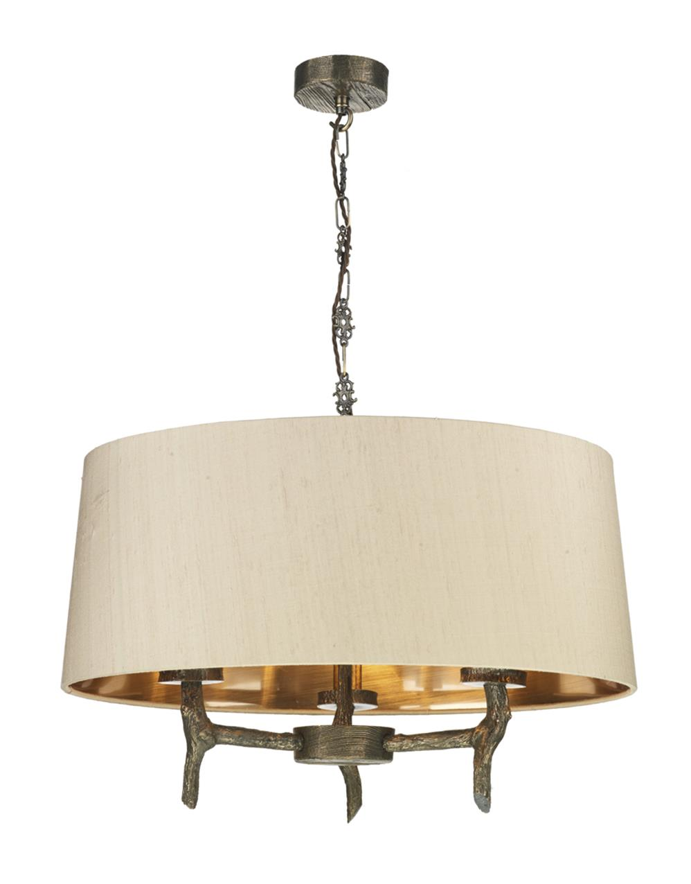 David Hunt Lighting JOS5301 Joshua 3 Light Pendant in Bronze withTaupe shades