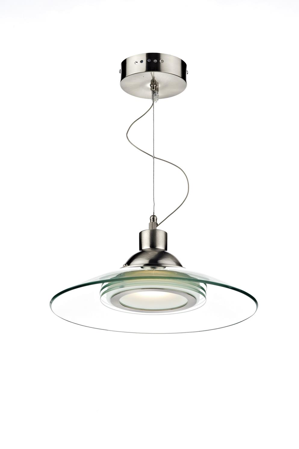 Dar KAS012 Kasko 1 Light LED Pendant in Satin Chrome & Glass