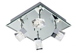 LOG8550/LED Logic  LED Bathroom 4 Light on Square Platein Mirror & Chrome