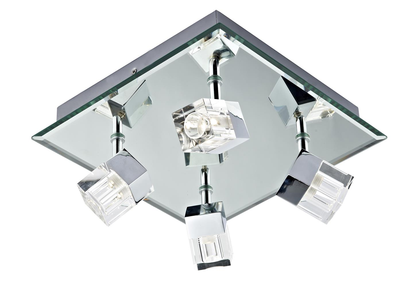 Dar LOG8550/LED Logic  LED Bathroom 4 Light on Square Platein Mirror & Chrome