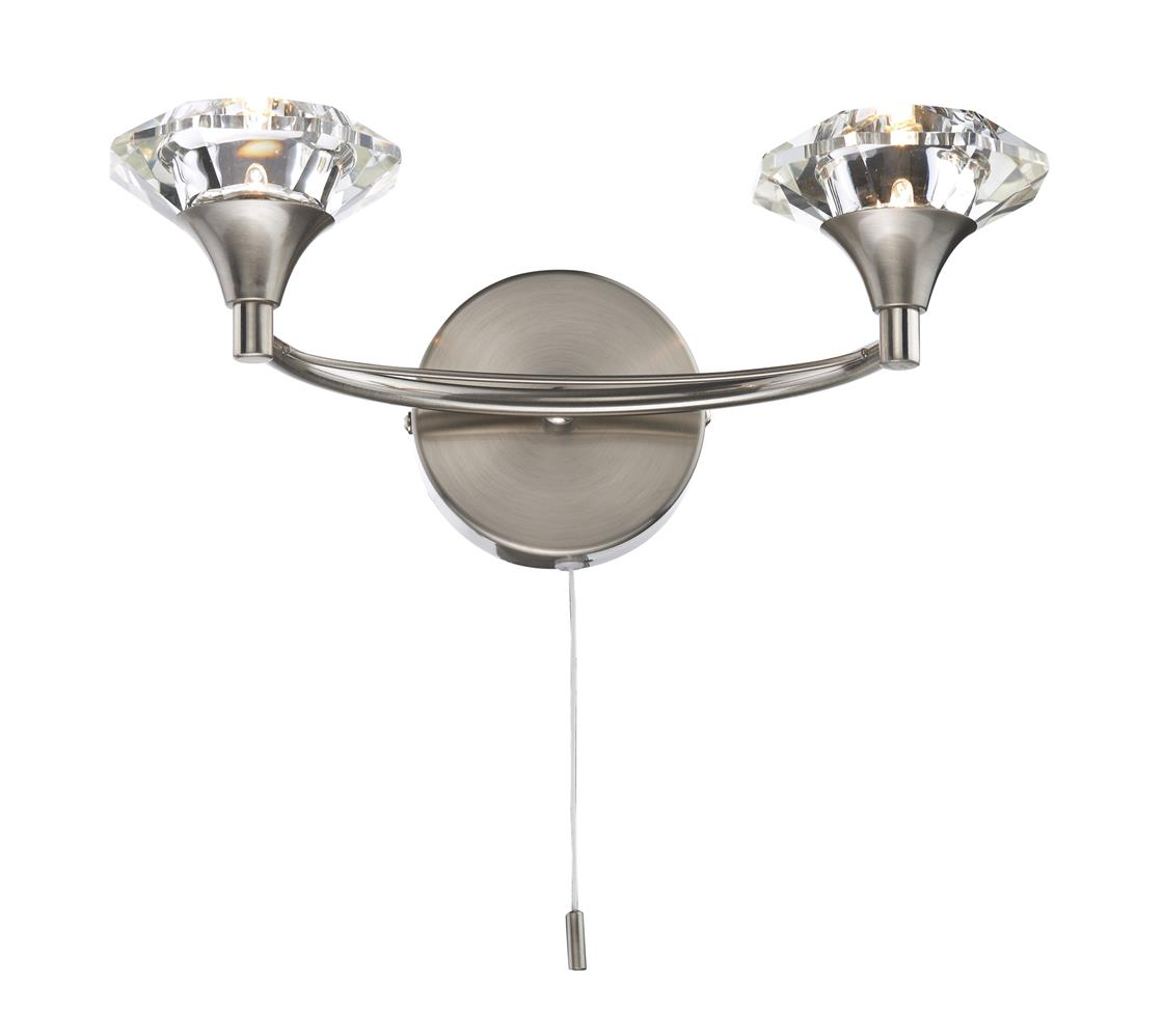 Double Wall Lights Chrome : LUT0946 Luther Double Wall Light in Satin Chrome Lighting Bug Swindon
