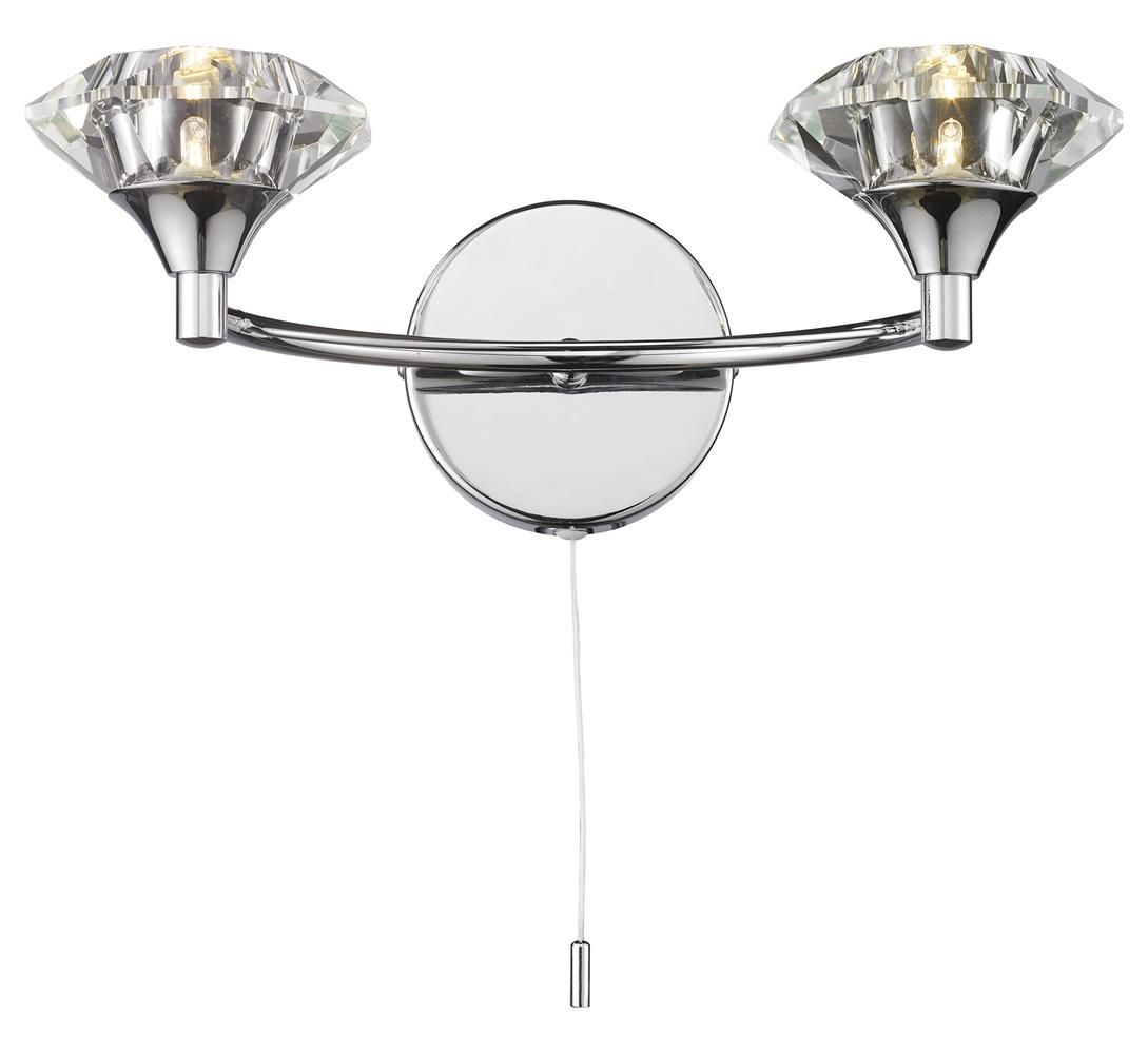 Tiffany Wall Light Pull Switch : LUT0950 Luther Double Wall Light in Polished Chrome Lighting Bug Swindon