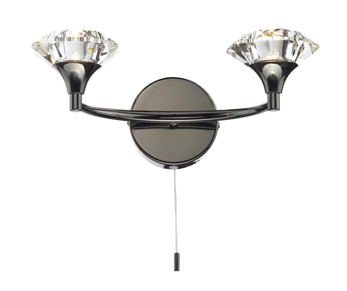LUT0967 Luther Double Wall Light in Black Chrome Lighting Bug Swindon