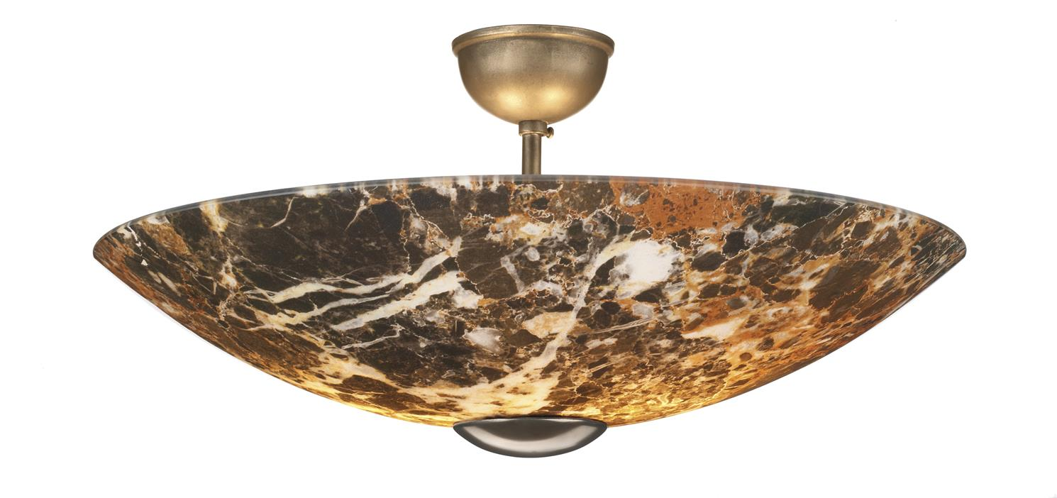 David Hunt Lighting MG58 Savoy 2 Light Semi Flush with Dark Marble Glass