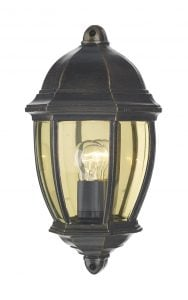 NEW2135 Newport Outdoor Wall Half Lantern in Black/Gold