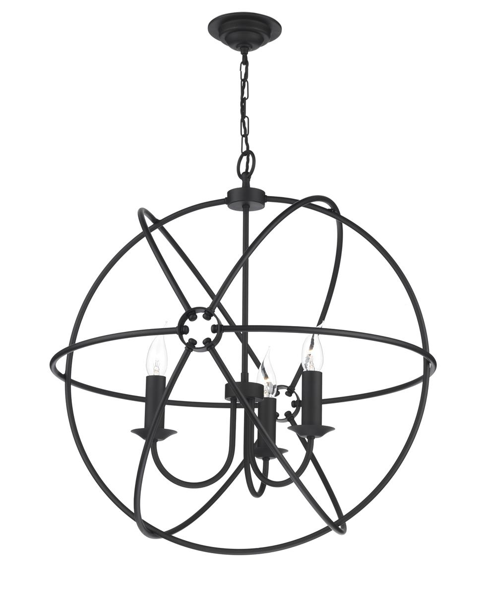 David Hunt Lighting ORB0322 Orb 3 Light Pendant in Black Finish