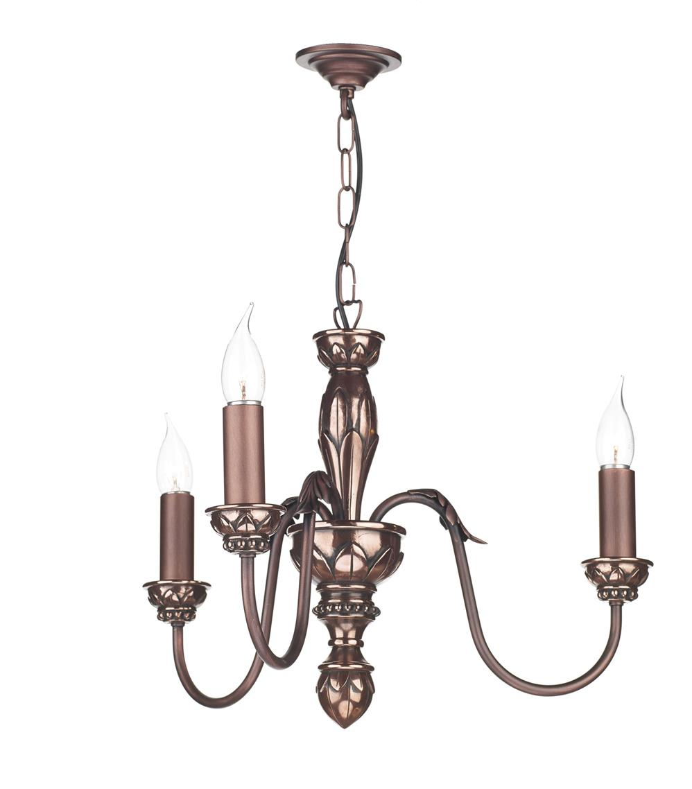 Dar OX364 Oxford 3 Light Pendant in Copper (Fitting Only)