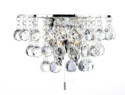 PLU0950 Pluto 2 Light Wall Light in Polished Chrome & Crystal