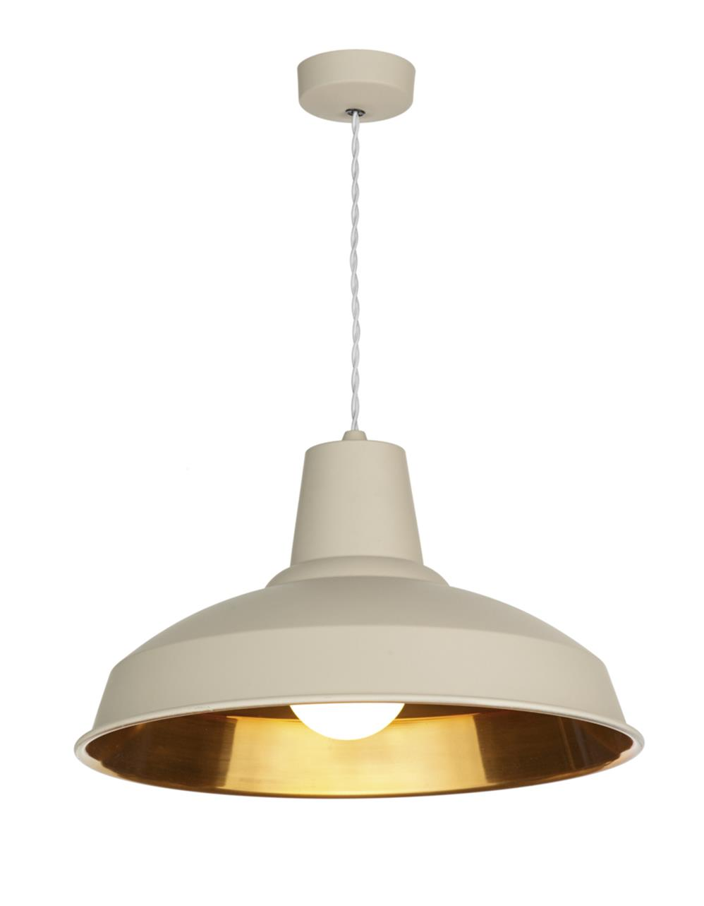 David Hunt Lighting REC0112 Reclamation 1 Light Pendant in Cotswold Cream with Copper Inner