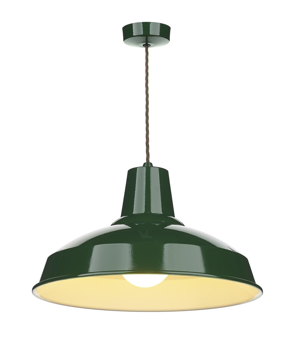 David Hunt Lighting REC0124 Reclamation 1 Light Pendant in Racing Green