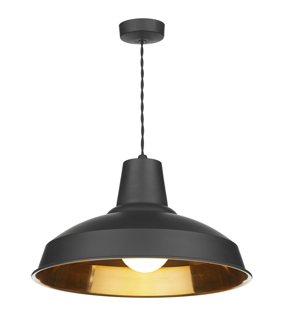 David Hunt Lighting REC0154 Reclamation 1 Light Pendant in Black with Copper Inner