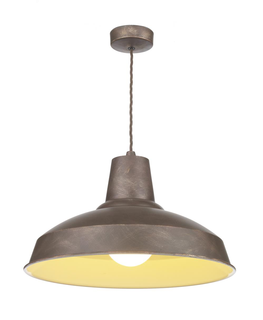 David Hunt Lighting REC0163 Reclamation 1 Light Pendant in Weathered Bronze and white Inner