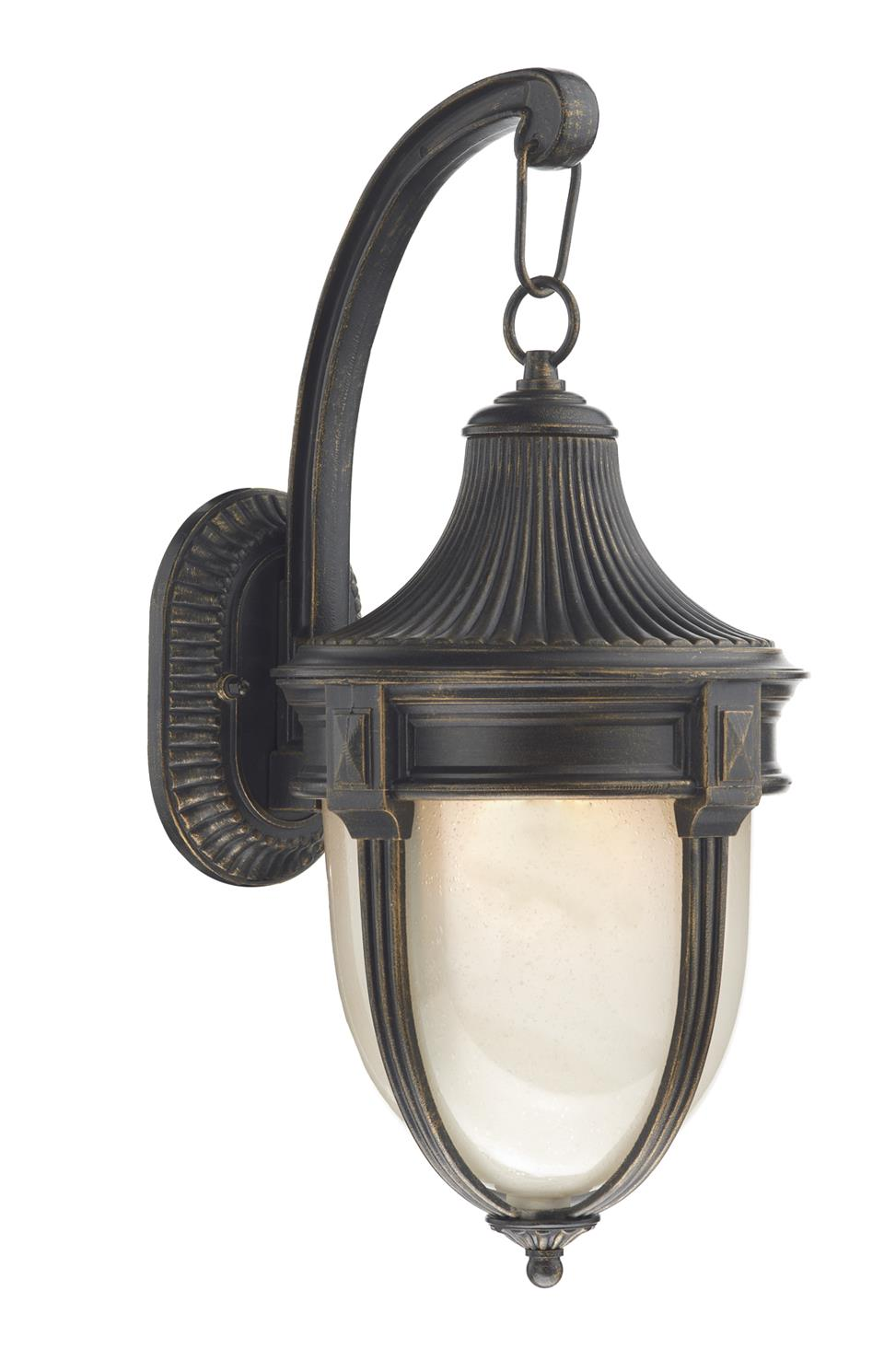 Big Outside Wall Lights : RIC1535 Richmond Large Outdoor Down Wall Light in Black/Gold Lighting Bug Swindon