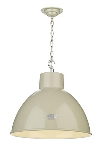 UTI012 Utility 1 Light Large Pendant in French Cream Gloss