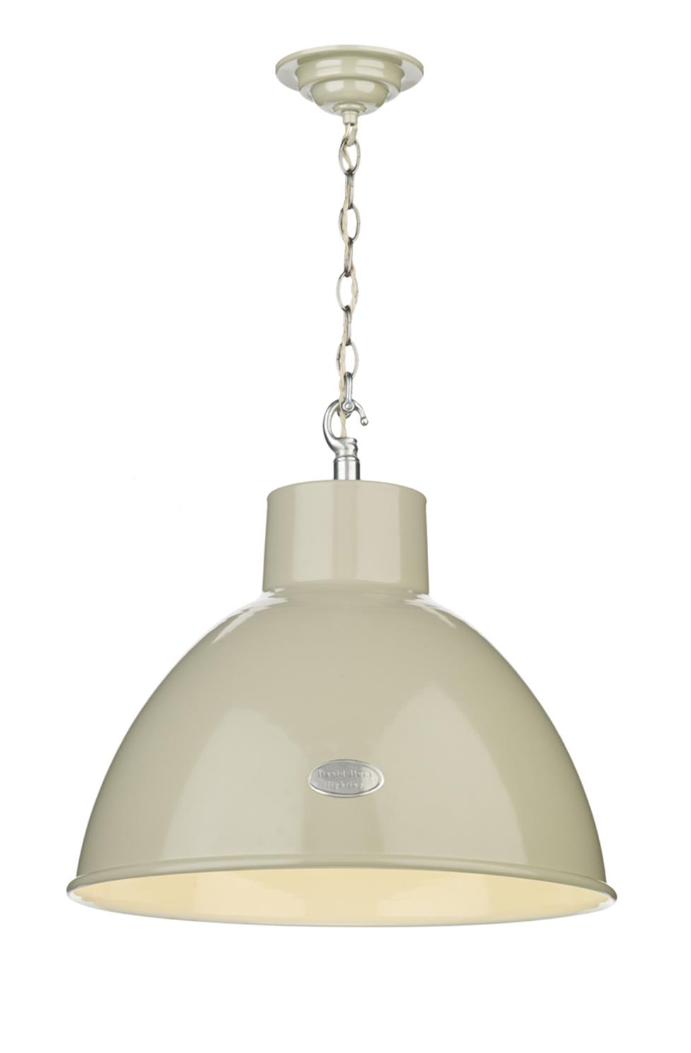 David Hunt Lighting UTI012 Utility 1 Light Large Pendant in French Cream Gloss