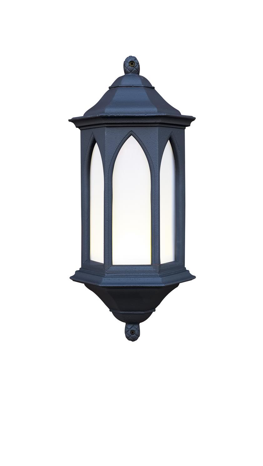 David Hunt Lighting YOR22/LE York Outdoor Half Lantern in Black Stone