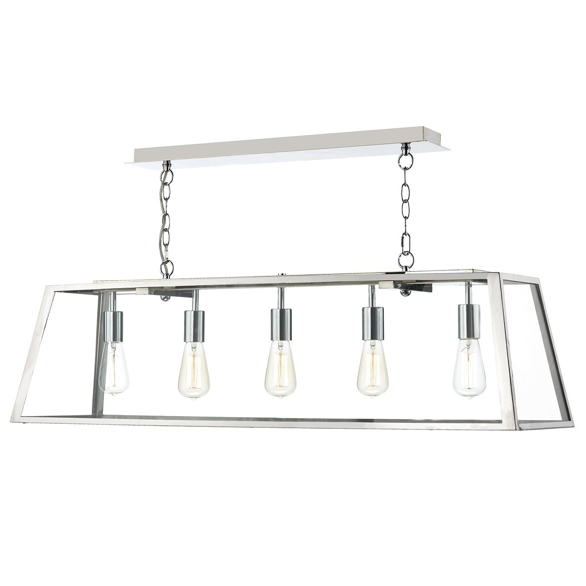 Dar ACA0544 Academy 5 Light Box Pendant in Stainless Steel