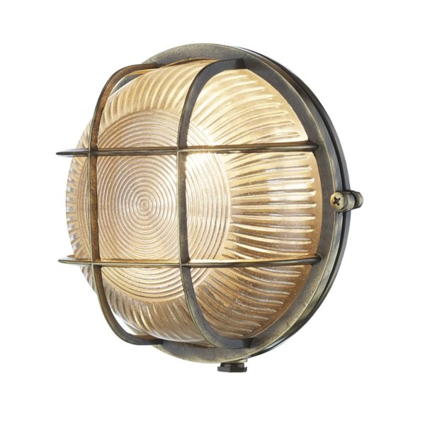 ADM5075 Admiral 1 Light Round Wall Light Antique Brass
