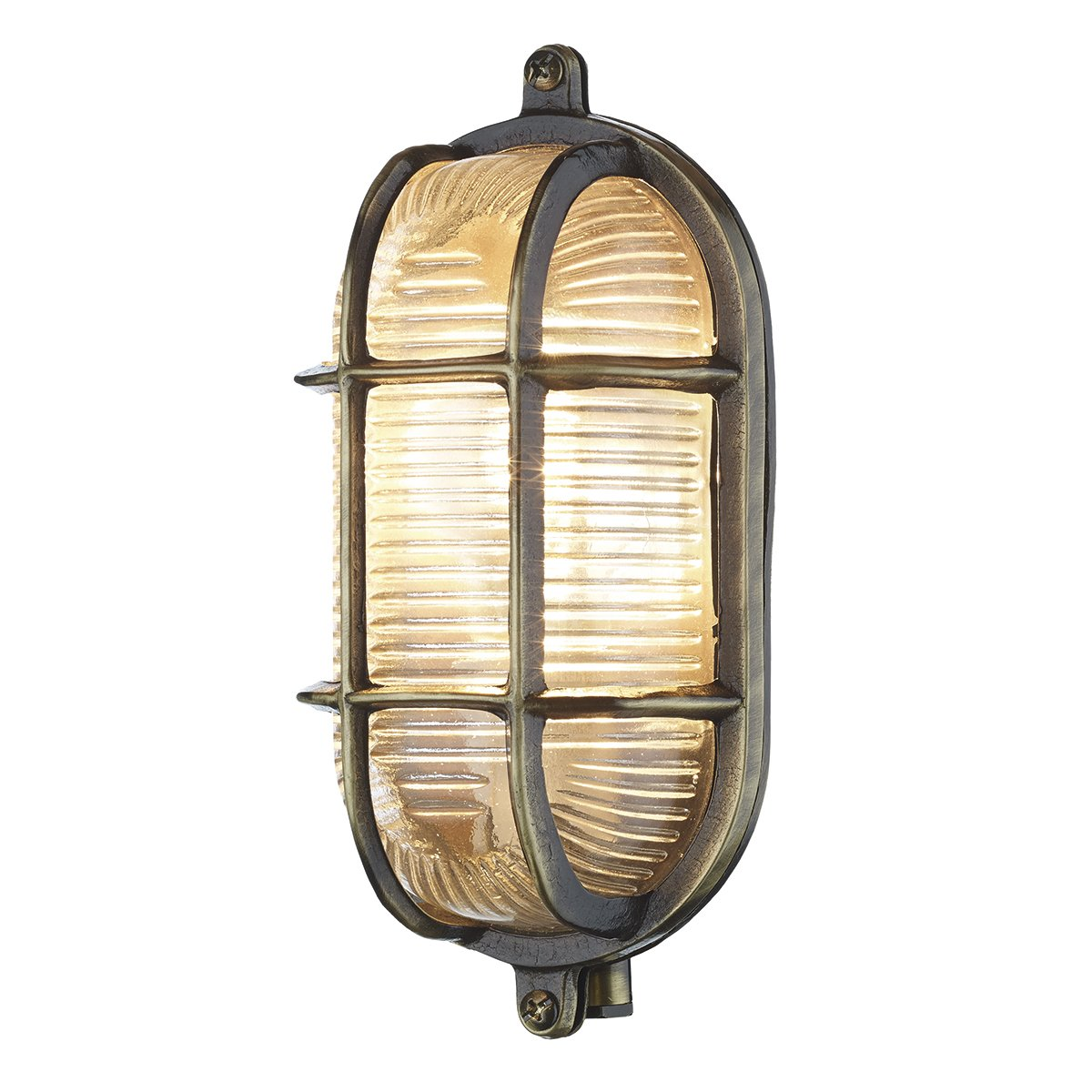 David Hunt Lighting ADM5275 Admiral 1 Light Small Oval Wall Light Antique Brass