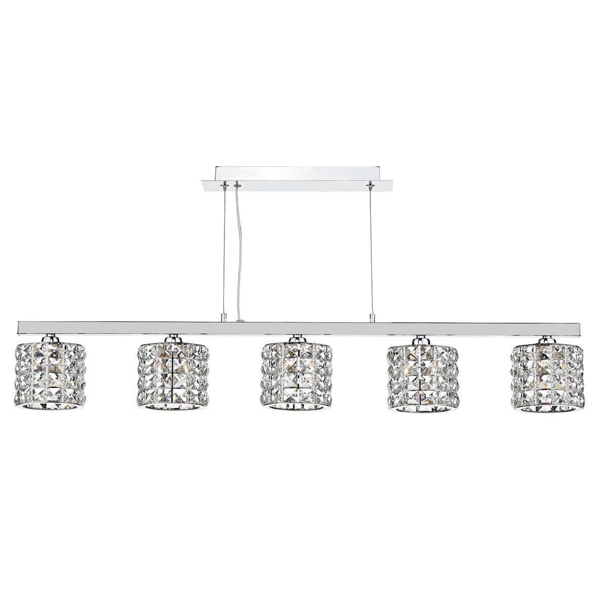 Dar AGN0550 Agneta 5 Light Bar Pendant in Chrome