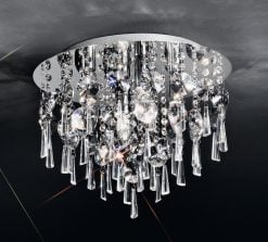 CF5716 Jazzy 4 light flush, in chrome and crystal.