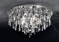 CF5717 Jazzy 5 light flush, in chrome and crystal.