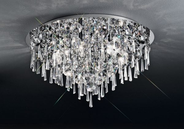 CF5718 Jazzy 6 light flush, in chrome and crystal.