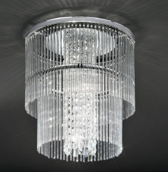 CF5725 Charisma two tier flush, chrome and crystal glass