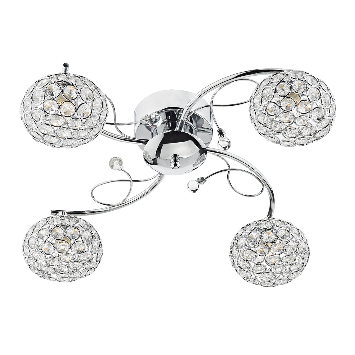 Impex EDE0450 Eden 4 Light Semi Flush Fitting in Chrome
