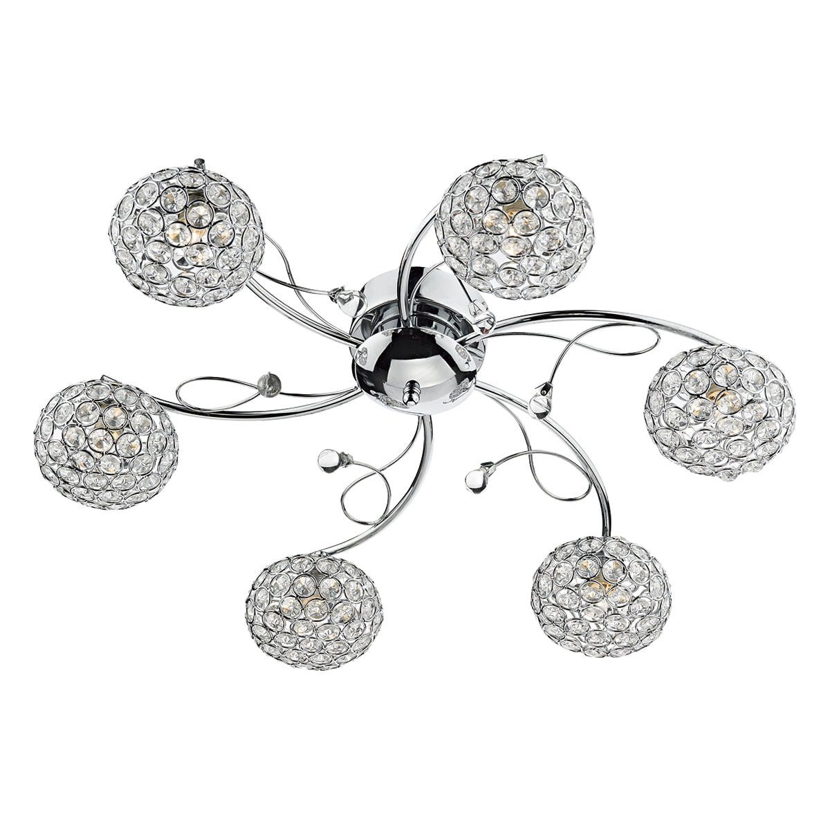 Impex EDE6450 Eden 6 Light Semi Flush Fitting in Chrome