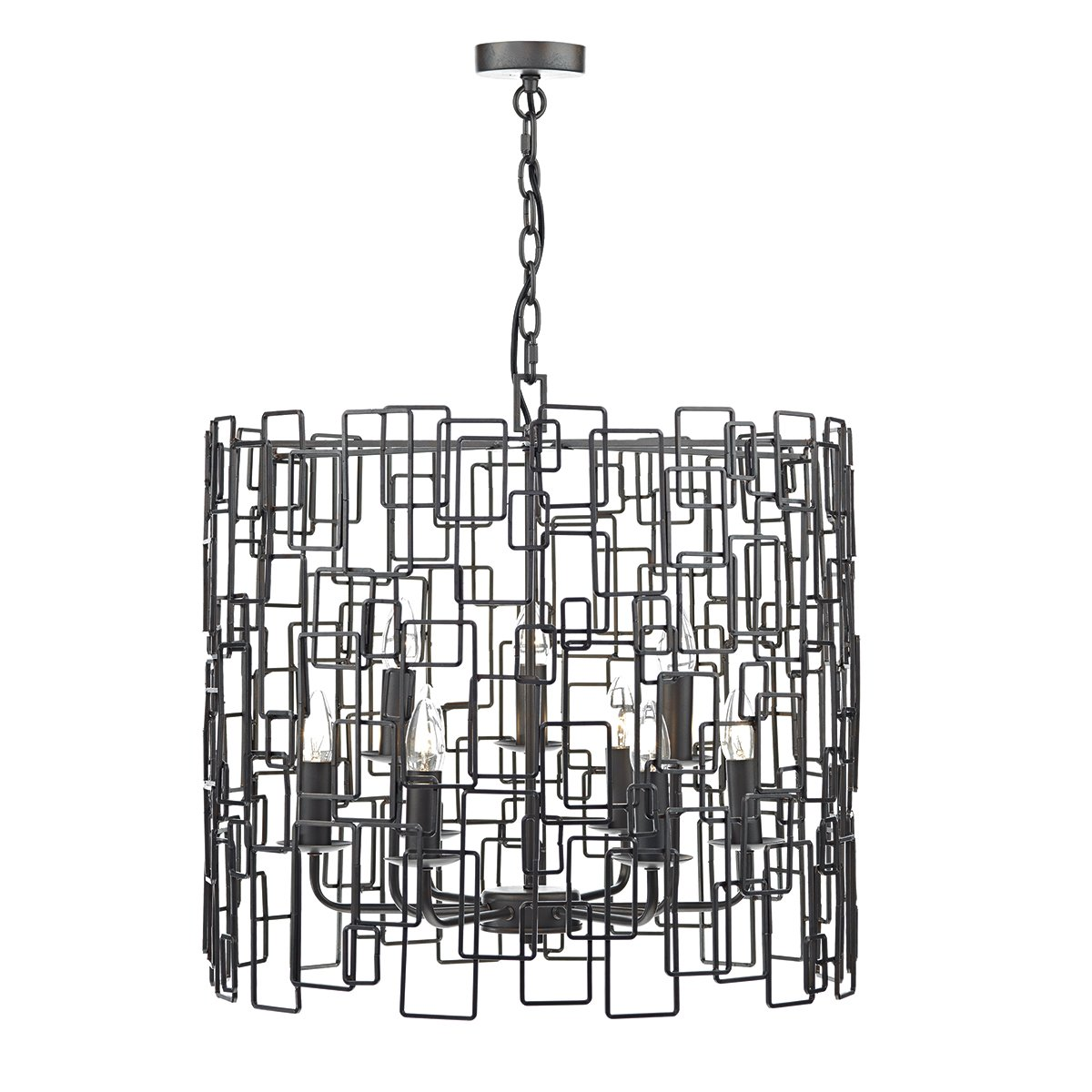 Dar OXO1322 Oxo 9 Light 2 Tier Pendant in Matt Black with Hints of Copper