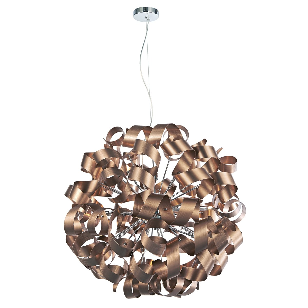 Dar RAW1264 Rawley 12 Light Ball Pendant in Brushed Satin Copper