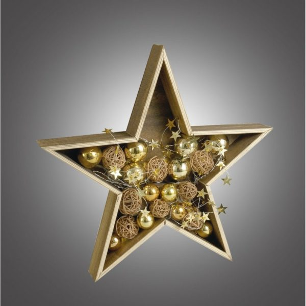 Dar 006X04002 LED Wooden Star with Christmas Bauble