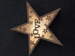 006X04006 LED Wooden Star with Love Design