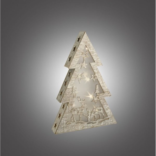 Dar 006X04007 LED wooden Christmas Tree with Star