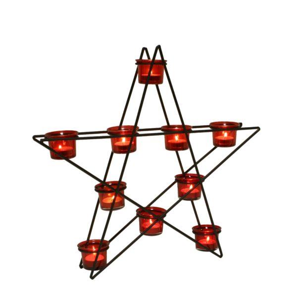 14909 Star Tealight Holder Red