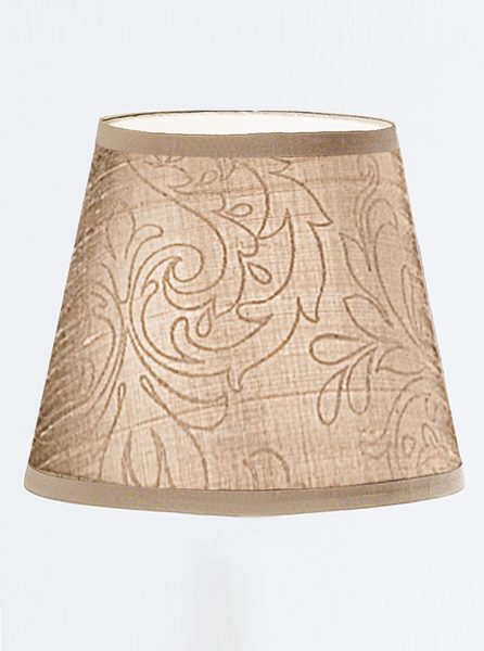 1081 Candle-clip lampshade patterned beige silk