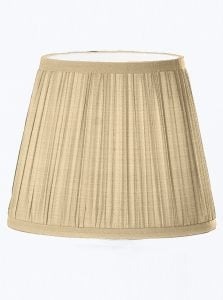 1086 Candle-clip lampshade pleated dark beige silk