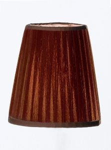 1108 Small candle-clip lampshade pleated coffee silk