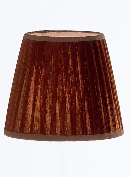 1109 Large candle-clip lampshade pleated coffee silk
