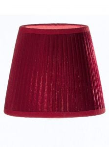1111 Large candle-clip lampshade pleated burgundy silk