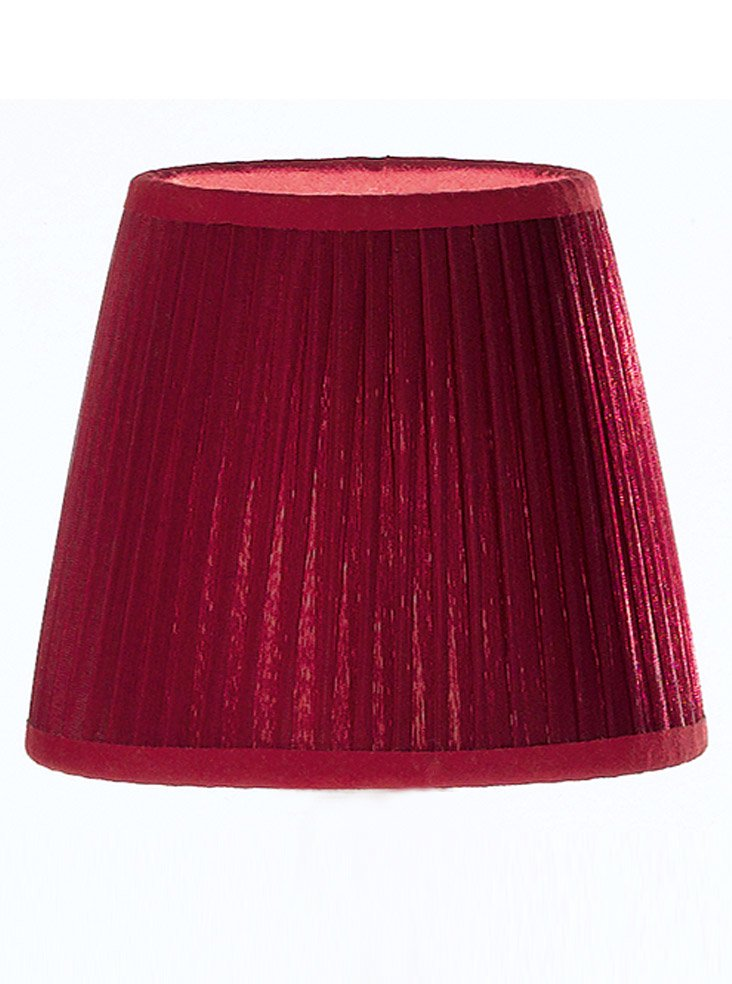 1111 Large Candle Clip Lampshade Pleated Burgundy Silk
