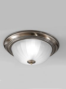 CF5643 Flush ceiling light small, bronze and ribbed acid glass