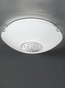 CF5730 Modern circle flush fitting large, glass and chrome