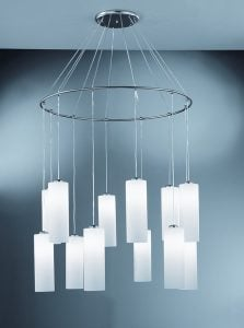 CO93212/887 Modern 12 Light Pendant Fitting in Chrome with Opal Glass Shades